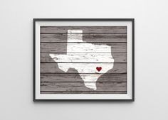 Custom Wood State Art Print - Personalized Rustic Wall Decor - Texas Silhouette - Wood Grain Art - Housewarming Gift - TX Gift - Any State