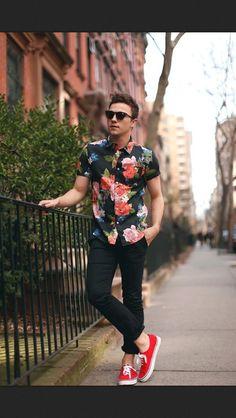 men styles, hipster, van, floral prints, cloth, shirts, men fashion, black pants, style fashion