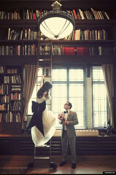 hipster midtown detroit scarab club art wedding library ladder