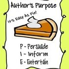 Activity and poster aimed to help students recognize the different purposes authors write. (PIE!) Packet Includes poster printable, information...