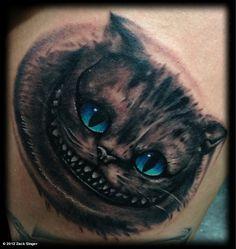 Zack Singer's photo: Cheshire-cat TATTOO I just finished!!  ShitN n the litter box •:)