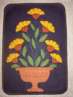"""Penny Rug Vase of Flowers Wallhanging Pattern Wool Felt Embroidery 11 x 15"""""""