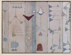 June Schwarcz-Copper panel with cuneiform design and ground enamel