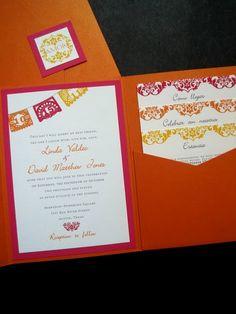 Mexican papel picado wedding invitations