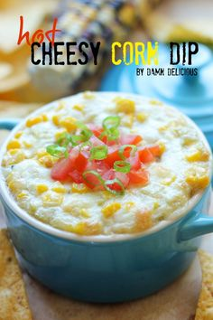 Hot Cheesy Corn Dip - Super easy corn dip loaded with hot, cheesy goodness that comes together in just 5 minutes!