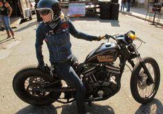 Harley Davidson Sportster bobber, female rider, open face helmet