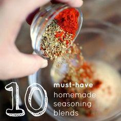 10 Must-Have DIY Homemade Seasoning Blends. Italian Seasoning blend, BBQ rub mix, Ranch seasoning mix, Cajun seasoning, Seasoned Flour Mix – just shake it and bake it, French Lavender Salt, Jamaican Jerk Seasoning, Southwestern Rub, Taco Seasoning and Steak Rub – Montreal-style. Now I'm hungry.