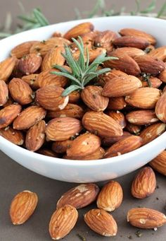 Rosemary Roasted Almonds Recipe on twopeasandtheirpod.com Easy to make and great for snacking or gift giving!
