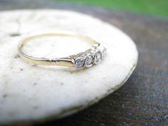 Elegant Edwardian to Art Deco 18K Gold Diamond Band Ring - 5 Fiery Old European Cut Diamonds - Perfect Wedding Band or Stacking Ring. $325.00, via Etsy.