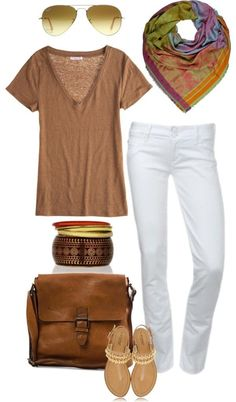 modern international traveler outfit! Tan shirt, white jeans, scarf, messenger bag, shades, bangles, and jeweled sandals.