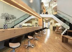 EDEN by Eden Sassoon - Finishing Studio in West Hollywood. Takara Belmont Curved Art Styling Chairs.