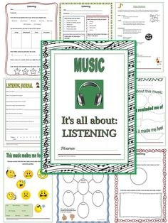 MUSIC LISTENING: 18 pages of activities/worksheets!  Listening logs for every level    $