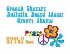 Speech Therapy Bulletin Board Ideas:  Groovy Theme