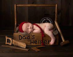 Wooden tool box   Newborn photography prop  photo prop newborn baby boy via Etsy