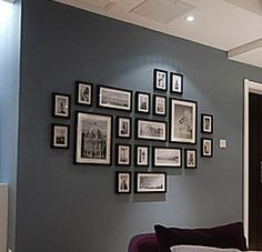 wall colors, grey walls, photo layouts, black and white picture wall, collag, frame arrangements, black and white picture decor, black and white photo wall, black picture frames