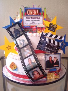 Cake I made for a gentleman's 70th birthday with a Hollywood/Movie theme. I made all the little paper props-big stars, clapboard, marquee, and frame with the birthday boy and his wife. Others were scrapbook elements. Plastic filmstrip was from Michael's Crafts, with different pictures of the birthday gentleman...2/25/2012 paper stars, movi cake, hollywood crafts, celebration cakes, cake idea, birthday boys, hollywood cake, 70th birthday, birthday cakes