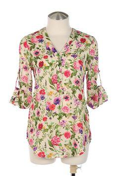 $45 - Ivory garden print blouse