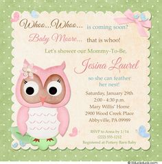 Like idea of combining owl and feather her nest themes for baby shower...cute invitation!