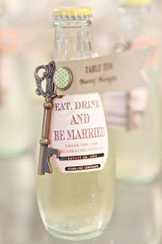 """Eat, drink, and be married."" key bottle opener favor love"