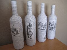 Love these up-cycled bottles using vintage book pages! wines, books, craft, decoupag bottl, alice in wonderland, book pages, upcycl wine, wine bottles, diy