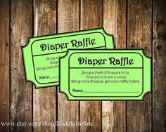 INSTANT DOWNLOAD- Green Printable Baby Shower Diaper Raffle Ticket