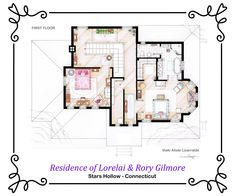 """This is the first floor of Lorelai & Rory Gilmore's house in Stars Hollow from the TV series """"Gilmore Girls"""". It's an original hand drawed plan, in scale, coloured with colour pens and with full details of furniture and complements. If you want to buy an original drawing, especially handmade for you write me to mailto:ializar@hotmail.com or visit my ETSY store."""