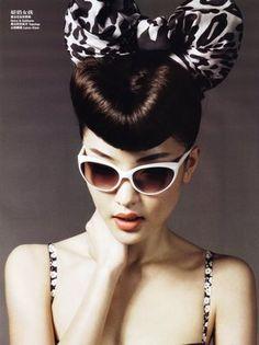 vogue, victory rolls, asian models, retro hair, vintage hair