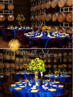 Royal Blue and Sunflower Wedding in a Vineyard.