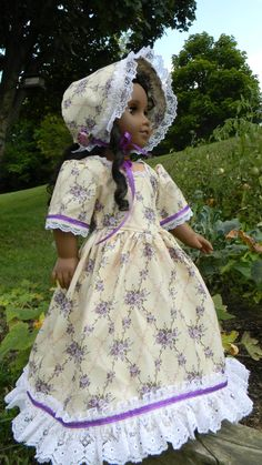 18 inch Doll Gown and Bonnet shades of purple by DollGownsByWendy