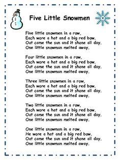 Little Fingers That Play: Five Little Snowmen