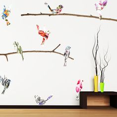 wall decor, living rooms, watercolor bird, nature, wall decals
