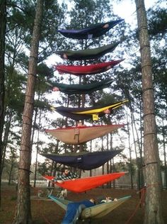 Tower of hammocks. #Camping