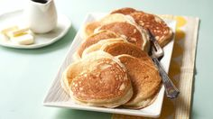 Blogger Cindy Ensley of Hungry Girl por Vida whips up a stack of quick and easy protein-packed Vanilla Yogurt Pancakes.