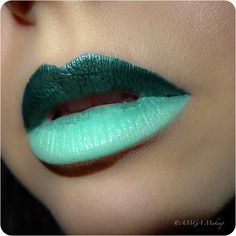 Amazing green ombre lip using Lime Crime's Serpentina and Mint To Be lipsticks. (by Anna A.)