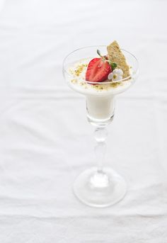 Rosewater Panna Cotta with Strawberries and Pistachio Tuiles
