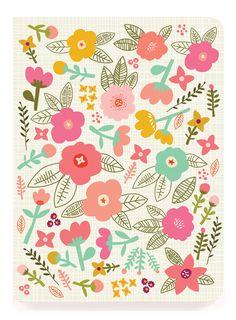 "Floral creme - 6x8"" Perfect Bound - Ecojot"