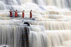 Monks in Waterfalls, by Dang Ngo, 2005