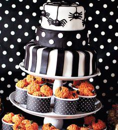 Polka Dot Trick or Treat Halloween Party - I'm digging the pumpkin rice krispie treats