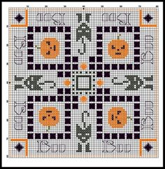 Cross-stitch Halloween Biscornu... no color chart available, just use pattern chart as your color guide.. or choose your own colors...