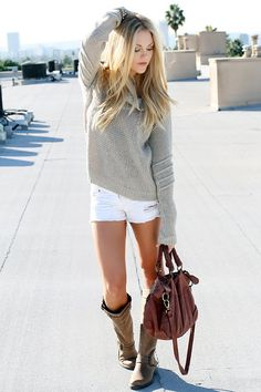 Neutral sweater, white shorts, neutral boots, brown messenger bag. my kind of style