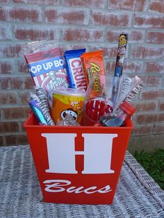 Personalized Snack Bucket with glass football tumbler by BBandGifts on Etsy, $25.00 Such a cool gift for preteen / teen boys for Easter!