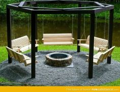 AWWWWWW I'm so jelly right now!!!! Beautiful DIY fire pit surrounded by matching country style swings