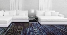 Milliken's high resolution printing capabilities enables patterns to be printed on modular carpet in tile-to-tile registration, as seen with the Altered Form Collection.