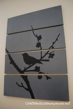 Using vinyl cut outs on canvases. The tut here uses a computer program to make the bird cut out, but you could just as easy by these in any hobby store.