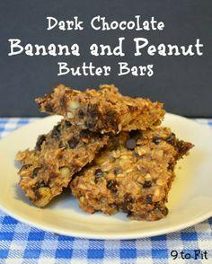Chewy {& healthy} Dark Chocolate Banana Peanut Butter Bars More
