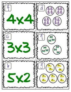 Here's a set of cards to practice matching multiplication problems to pictorial models.
