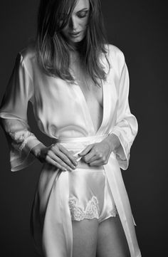 While getting ready sipping champagne you and your bridesmaid will enjoy this silk short robe with matching tap pant providing enough coverage for those naughty selfies! #nk_imode #silk #lingerie #nightwear #bridal
