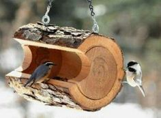 Log Bird Feeder - 23 DIY Birdfeeders That Will Fill Your Garden With Birds birdfeeders, idea, diy birdfeed, yard, logs, bird feeders, gardens, 23 diy, birds