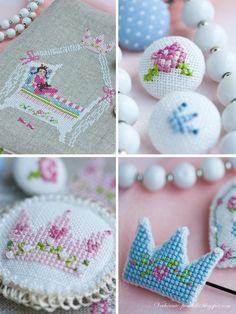 Cross-stitch buttons brooch