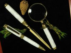 White Pearl Desk Set Includes Pen, Letter Opener & Magnifying Glass